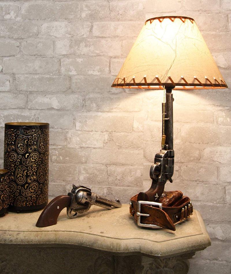 "Ebros Western Revolver Bedside Table Lamp with Shade 20.5""Tall (Set of 2)"