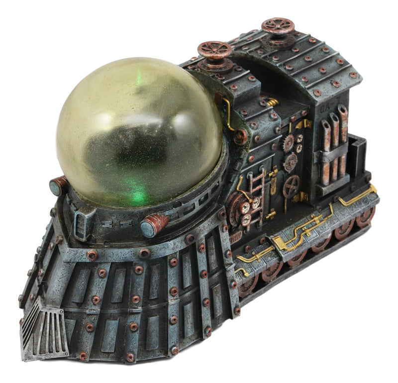 "Ebros Vintage Design Ironstar Steampunk Locomotive Engine Train Statue with Multi Color LED Night Light 9.5"" Long Science Fiction Tunnel Exploration Trains Cargo Transportation Decor Sculpture"