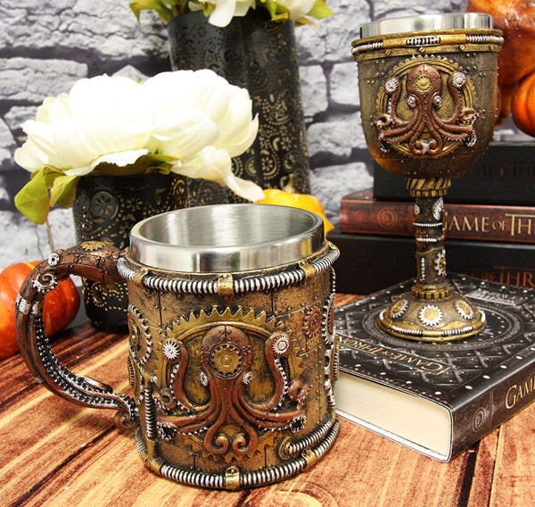 Ebros Steampunk Kraken Octopus Cyborg Drinkware Wine Goblet And Mug Set