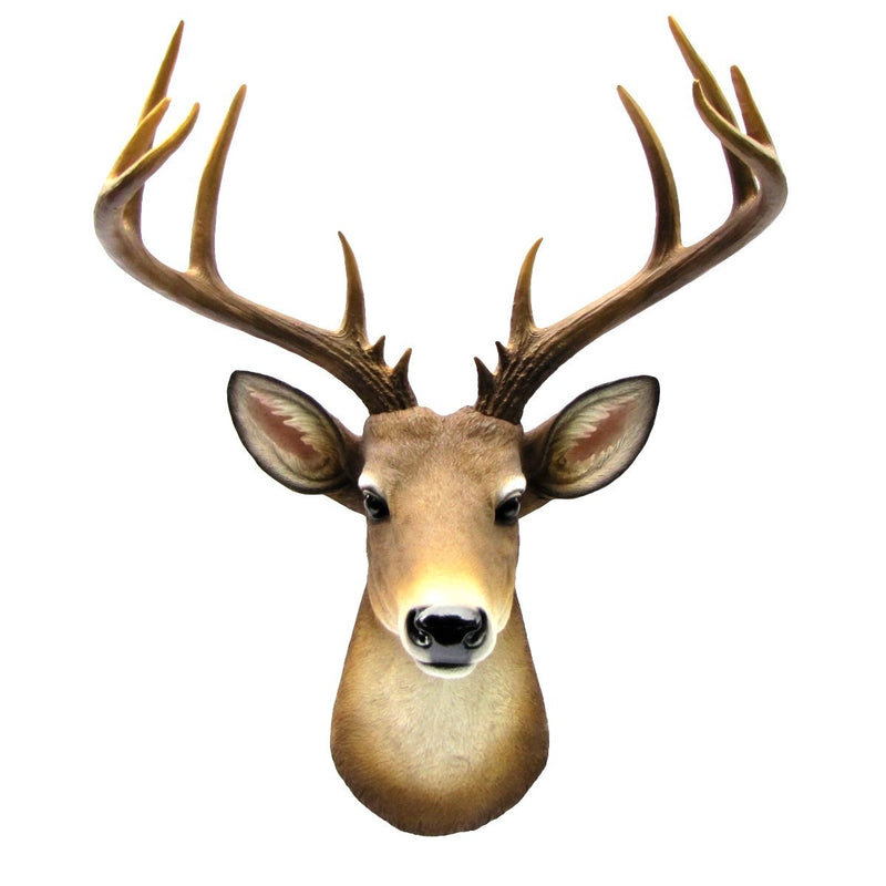 "Ebros 12 Point Buck Trophy Taxidermy Wall Decor Deer Head With Antlers Sculpture Hanging Plaque Figurine 21.5""H"