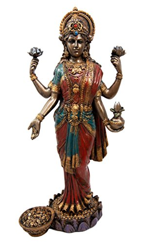 "Ebros Gift Collectibles Hindu Goddess Of Fortune And Prosperity Lakshmi Standing On Lotus Pedestal Figurine 10""H"