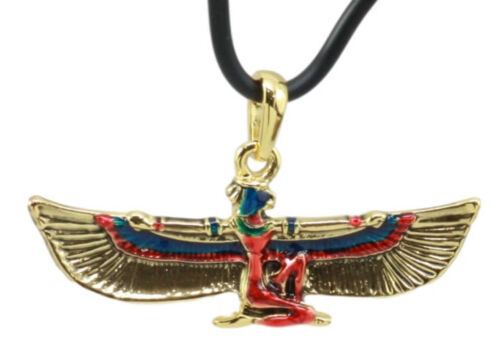 Ebros Egyptian Golden Goddess Maat Open Wings Amulet Pendant Necklace As Gifts Fashion Jewelry Accessory Women Girls Collectible