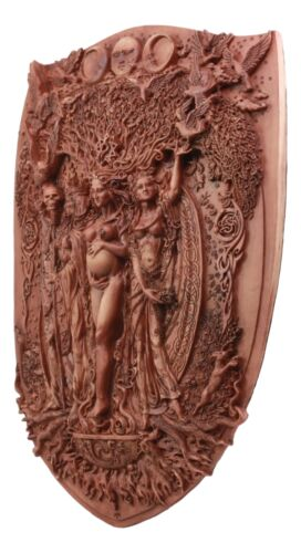 "Pagan Wiccan Tripple Goddess Maiden Mother Crone Shield Wall Plaque 14.5"" Tall"