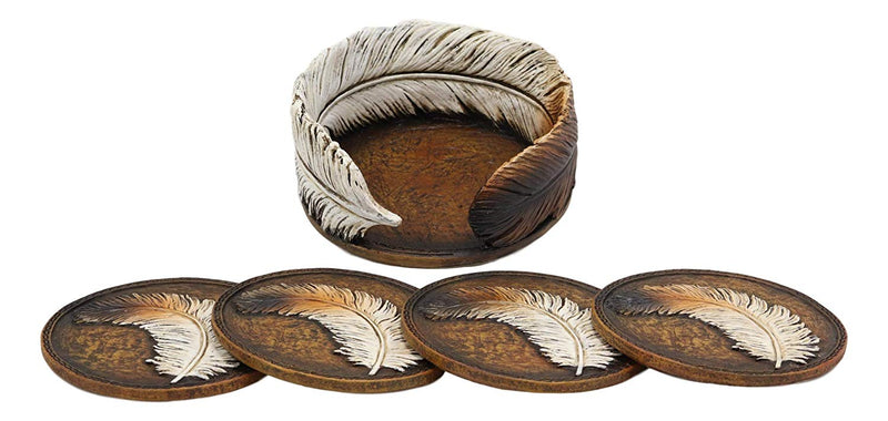 Ebros Rustic Western Indian Eagle Feather Sculpted Coaster Holder with 4 Round Coasters Decor Set in Vintage Colors for Drinks Cups Mugs Home and Kitchen Dining Decorative Figurine Southwestern