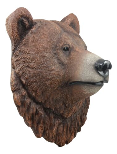"Ebros Brutus Realistic Large Brown Grizzly Bear Head Wall Decor 3D Plaque 15.5"" Tall Bear Ursidae Taxidermy Art Decor Sculpture"