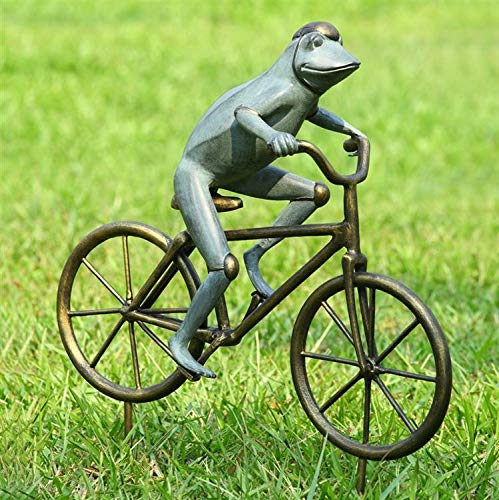 "Ebros Gift 26.75"" Tall Aluminum Metal Whimsical The Expedition Bicycling Frog with Helmet Garden Stake Statue Frogs Patio Pool Pond Lawn Yard Decorative Sculpture Feng Shui Zen Accent"