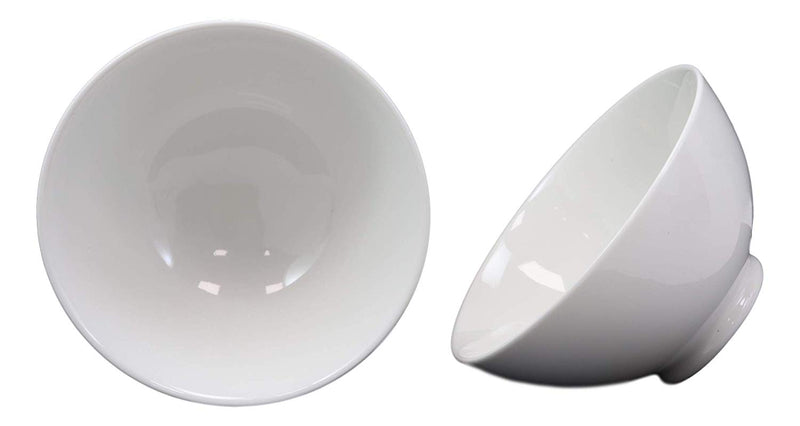 "Ebros Contemporary White Double Walled Porcelain Rice Bowls 8oz 4.5""Dia Ideal Bowl"