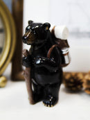 Western Rustic Backpacking Black Bear With Trekking Pole On A Hike Figurine