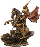 "Ebros Saint George The Dragon Slayer Statue 4.75"" Tall Christian Crusader Knight"