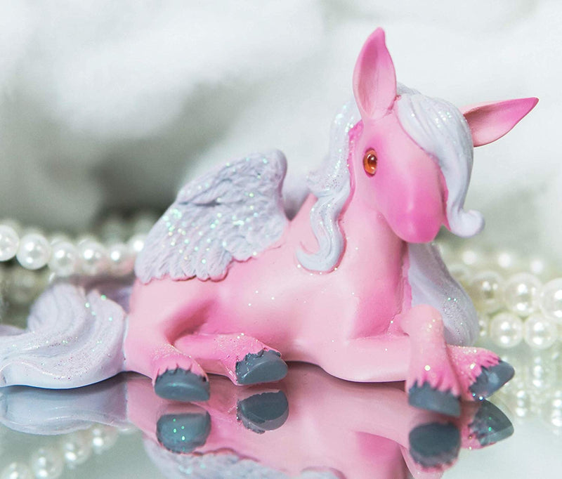 Ebros Whimsical Fairy Tale Pegasus Horse Figurine Shelf Decor (Pink Acacia)
