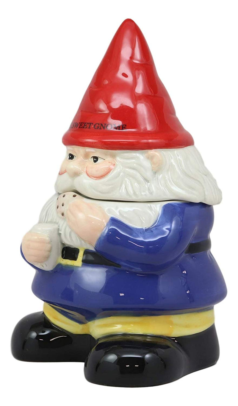 "Ebros Whimsical Sweet Tooth Gnome Ceramic Cookie Jar With Air Tight Lid 9.75""Tall Decorative Kitchen As Decor Storage For Dry Baking Ingredients Goods Knick Knacks - Ebros Gift"