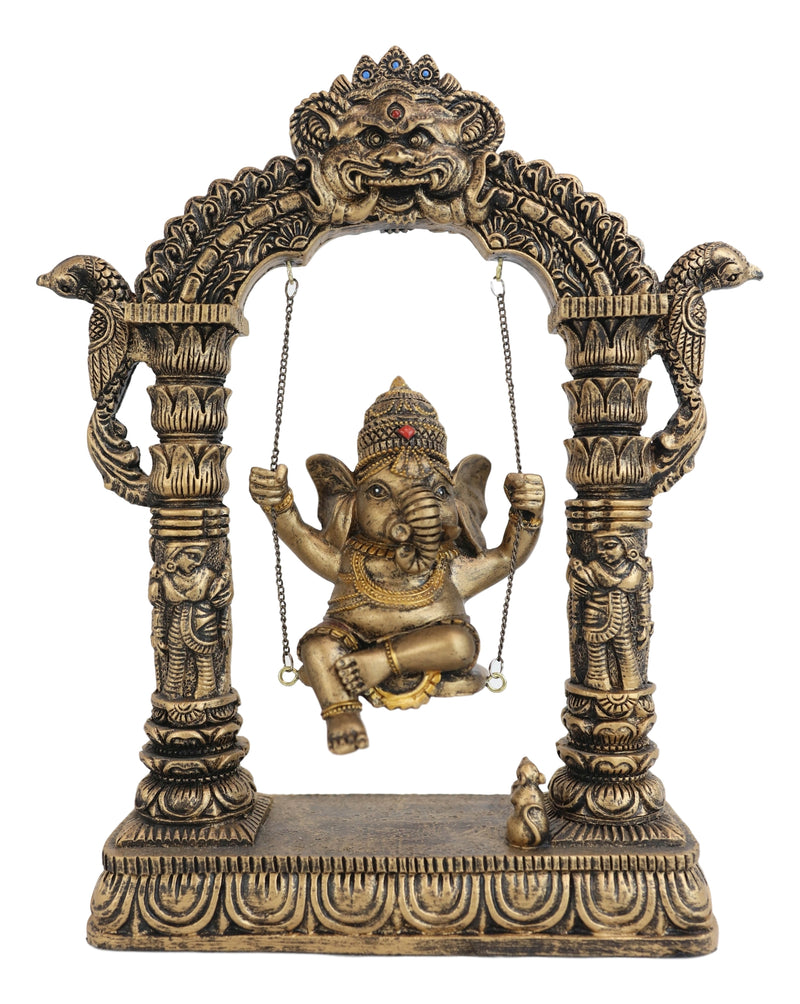 Hindu Supreme God Baby Ganesha Divine Child On Swing With Mooshika Mouse Statue