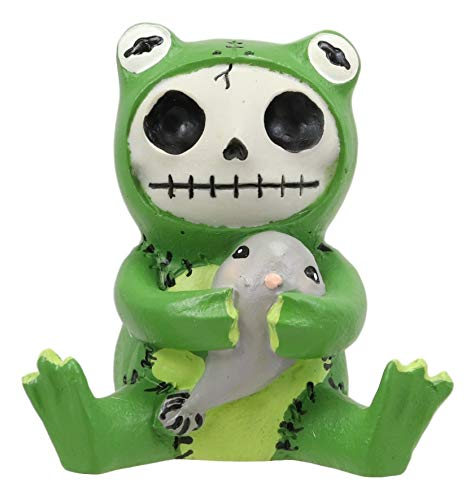 Furrybones Froggy Tadpole Green Frog Cute Skeleton Monster Ornament Figurine