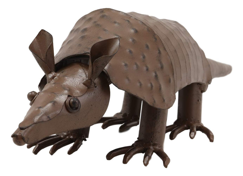 "Ebros Western Rustic Forest Hand Sculpted Metal Springy Armadillo Statue 15.5"" Long Cabin Lodge Decor Outdoor Garden Yard Figurine Decorative Home Art Accent Centerpiece"