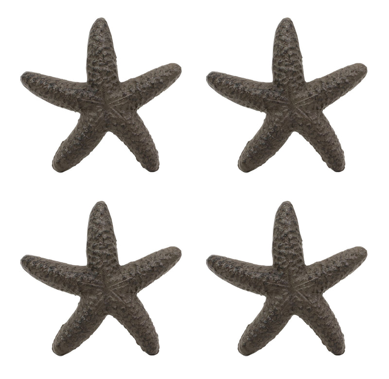 "Ebros Cast Iron Ocean Coral Sea Star Shell Starfish Decorative Accent Statue in Rustic Bronze Finish 4.5"" Wide Nautical Coastal Themed Decor for Wedding Beach Party Home Decorations DIY Crafts (4)"
