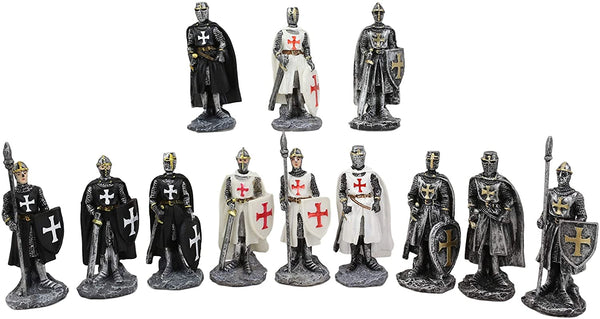 Ebros Set of 12 Medieval Knights Crusaders Figurines Suit of Armor Miniature