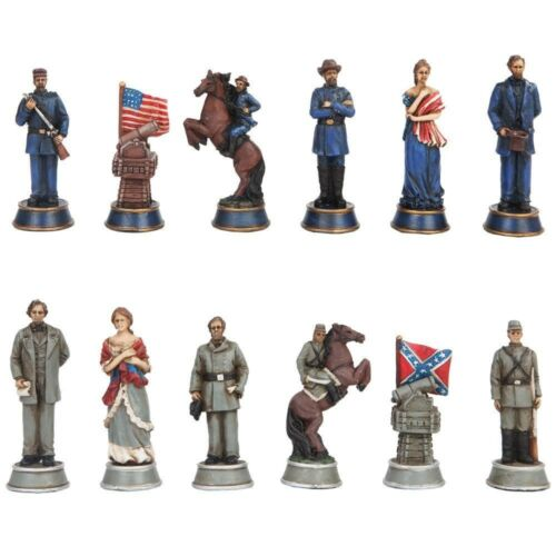 Ebros Gift Civil War Solider Themed Chess Set with Glass Board, Multicolor
