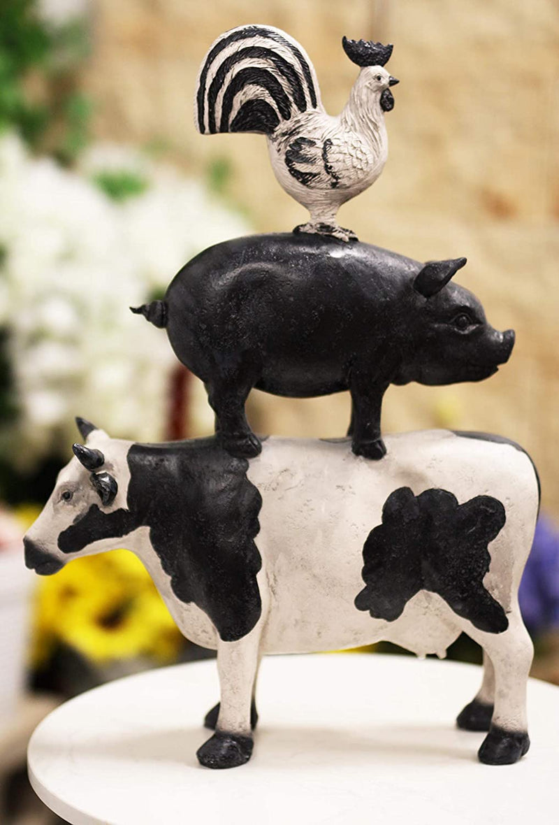 "Ebros Gift 18.5""Tall Large Chicken Pig And Cow Stacked Decorative Statue Plaque"