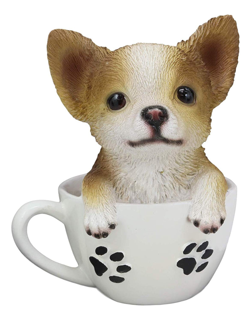 "Ebros Chihuahua Dog in Paw Prints Teacup Statue 6.25"" Tall Pet Pal Figurine"