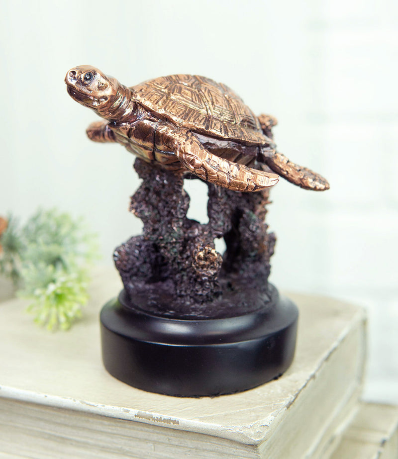 Marine Sea Turtle Swimming By Coral Reef Electroplated Bronze Resin Figurine