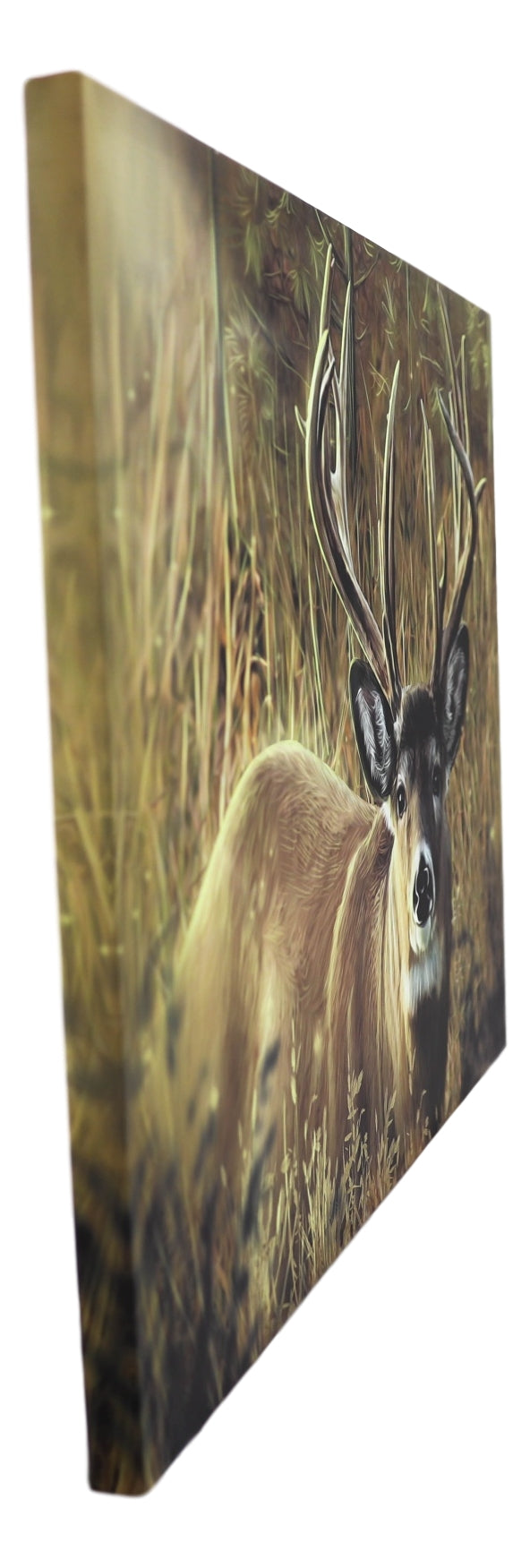 "Rustic Western Red Deer Stag Emperor Wood Framed Canvas Print 31"" X 23"" Wall Art"