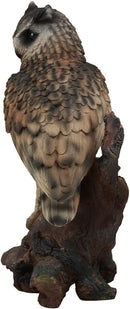"Realistic Nature Wildlife Eurasian Eagle Owl Perching On Tree Statue 14.25""Tall"