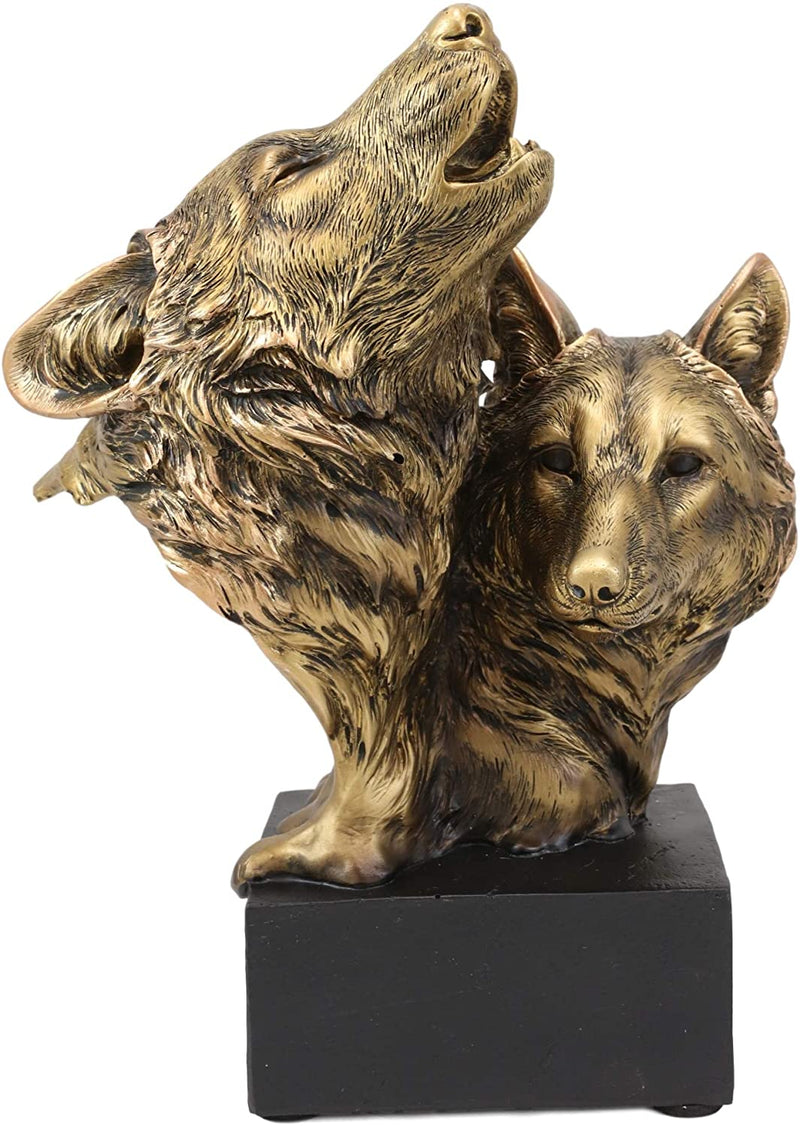 "Ebros Gift 9"" Tall Gray Wolf and Pup Head Bust Figurine with Black Pedestal"