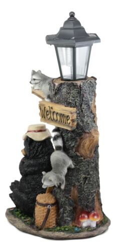 Summer Naps Lazy Bear With Raccoon Friends Welcome Sign Statue With Solar Light