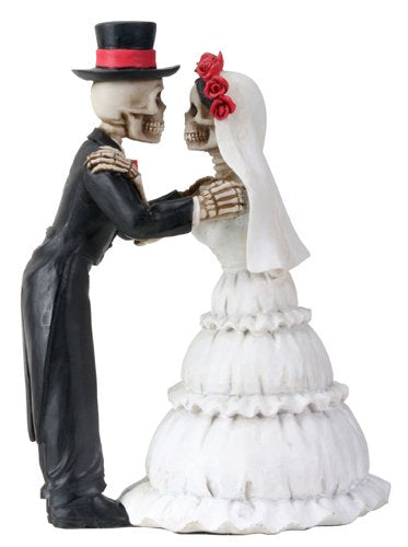 Ebros 4 Inch Day Of The Dead Skeleton Wedding Couple Kiss Figurine - Ebros Gift
