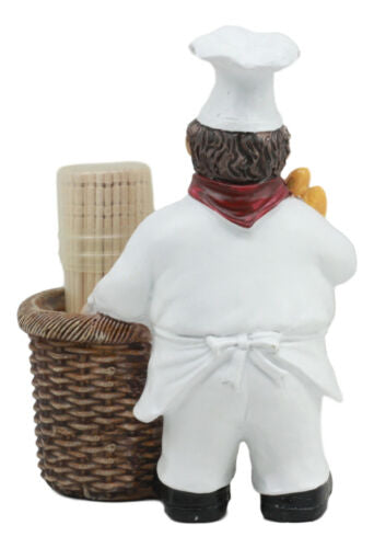 Ebros Pastry Head Chef Jean Holding Baquette Bread With Faux Wicker Basket Toothpick Holder Figurine