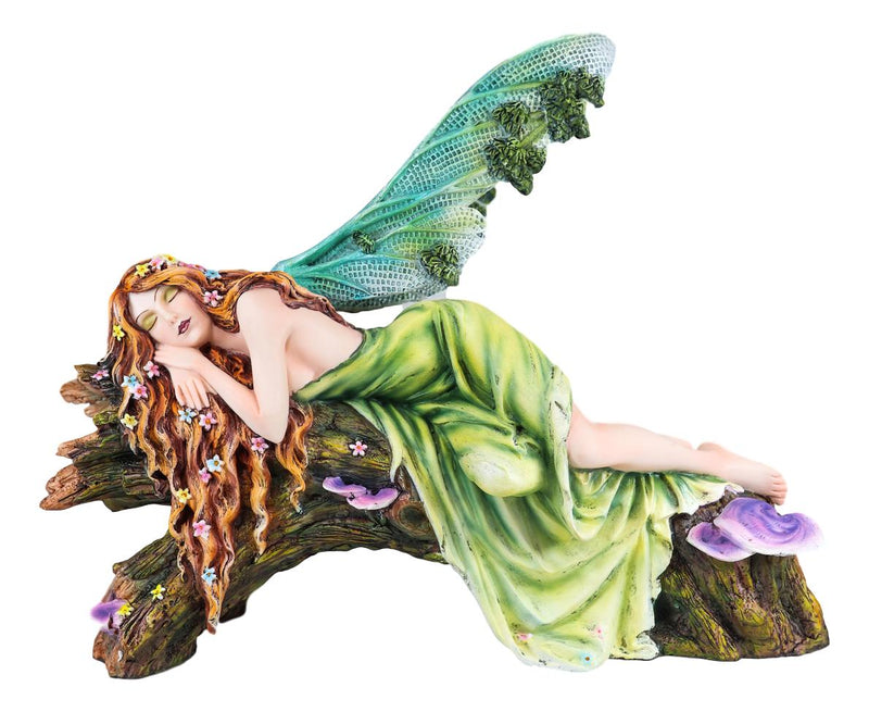 Beautiful Green Forest Fairy With Red Hair Sleeping On Organic Tree Log Statue
