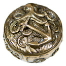 "Nautical Kraken Octopus With Ship Anchor Decorative Jewelry Box Figurine 4""Diam"