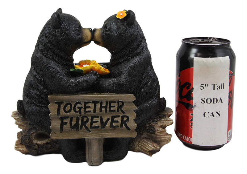 "Whimsical Wedding Vows Black Bear Couple Kissing By Tree Log Statue 7"" Tall"