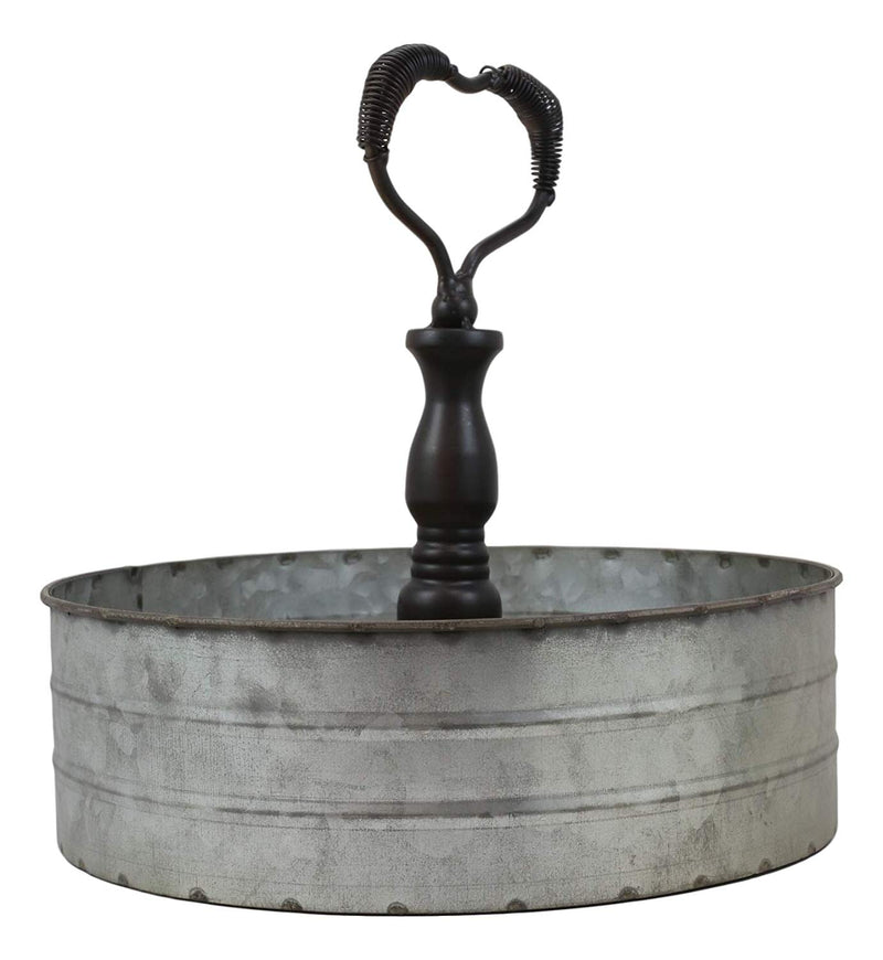 "Ebros 11.25"" Wide Metal Tray with Heart Shaped Handle Western Spice Rack Decor"
