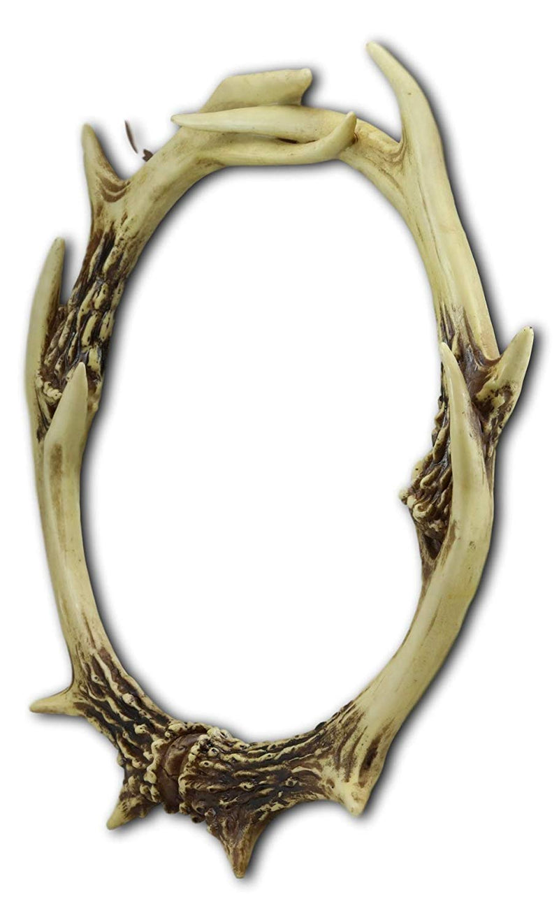 "Ebros 19"" High Western Rustic Hunters Entwined Stag Deer Antlers Rack Round Wall Mirror Decor Plaque Vintage Decorative Antler Racks Hanging Mirrors As Centerpiece Sculpture Beauty Vanity Accent - Ebros Gift"