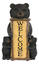 Rustic Forest Mama And Cubs Black Bears Family Welcome Sign Wall Decor Plaque