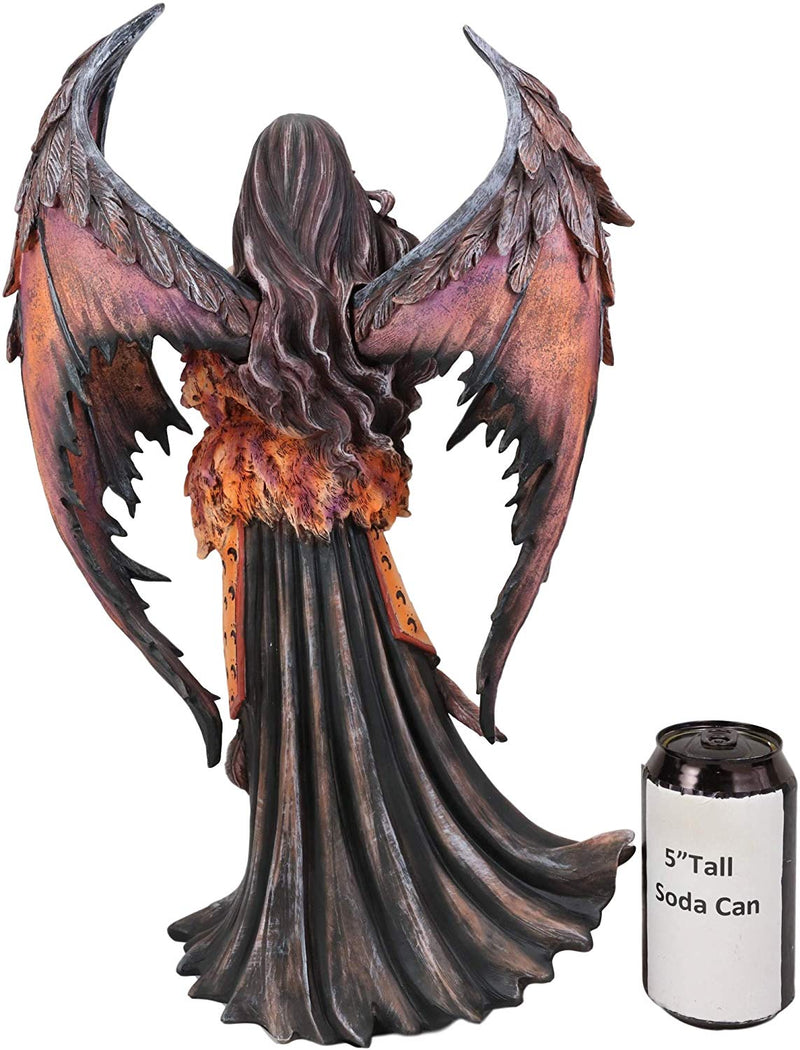 "Ebros Amy Brown Large Gothic Autumn Fall Fire Bat Winged Elf Fairy Statue 17""H"