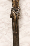 "Large Faux Bronze 30""H INRI Jesus Christ On Cross Wall Hanging Crucifix Plaque"