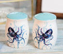 Nautical Blue Sea Octopus Splashing Bubbles Ceramic Salt And Pepper Shakers Set