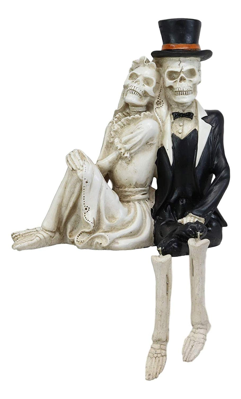 "Ebros Day of The Dead Love Never Dies Barefoot Skeleton Couple Wedding Bride and Groom Shelf Sitters Figurine Dias De Los Muertos Romantic Getaway Lovers Skeletons Halloween Sculpture 8"" Tall"
