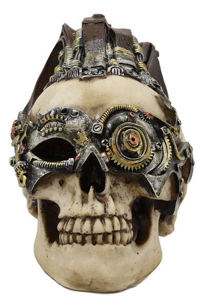 Ebros Long Hair Mohawk Steampunk Cyborg Robot Skull Warrior Figurine with Painted Gearwork Bullseye Eye Scope 7.25'Long Skeleton Head Statue for Halloween Day of The Dead Vintage Sci Fi Macabre Decor