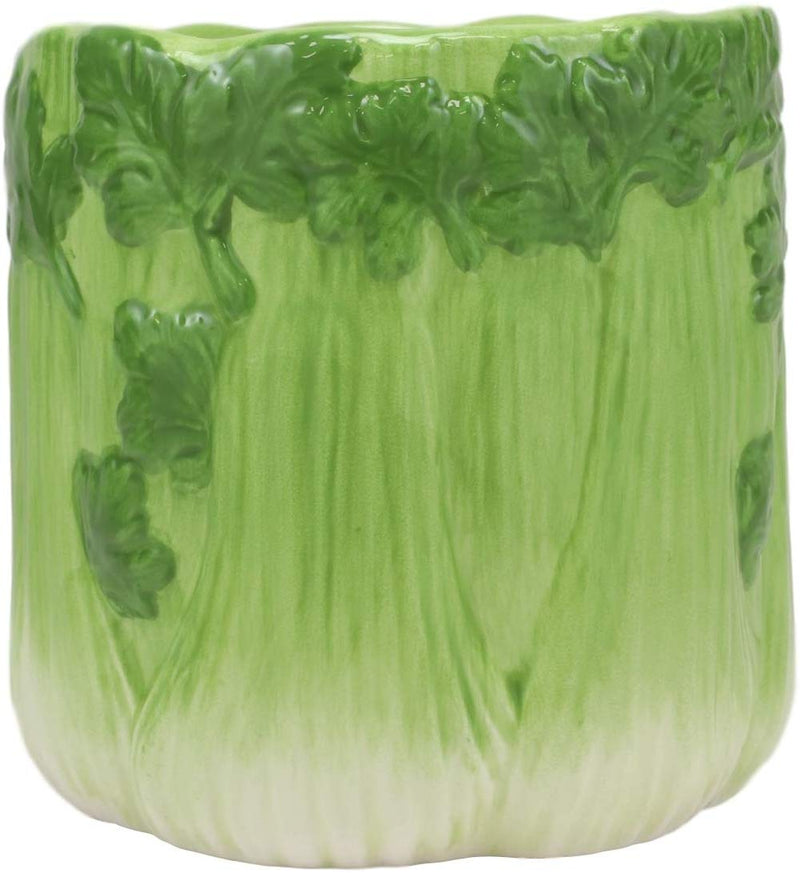 "Ebros 4"" Tall Ceramic Hearty Vegetable Celery Bunch Dish Bowl Holder Container - Ebros Gift"
