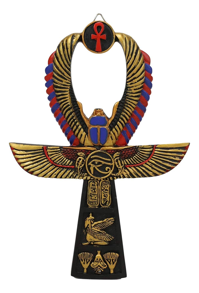 "Ebros Egyptian Golden Ankh Scarab Maat and Eye of Horus Wall Decor Figurine 8"" H"