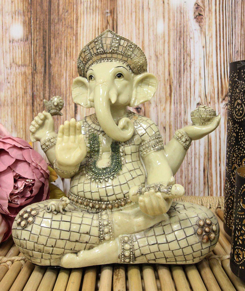 "Ebros 11"" Tall Hindu Ganesha in Meditation Holding Bowl Conch and Lotus Statue"