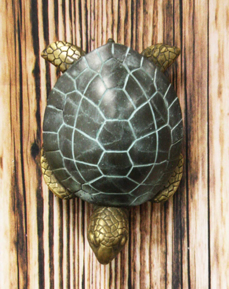 "Ebros Brass Metal Two Tone Verdi Green and Bronze Color Nautical Giant Sea Turtle Tiki Door Knocker 6"" High Symbol of Fortune and Longevity Decorative Coastal Ocean Surf Turtles Sculpture"