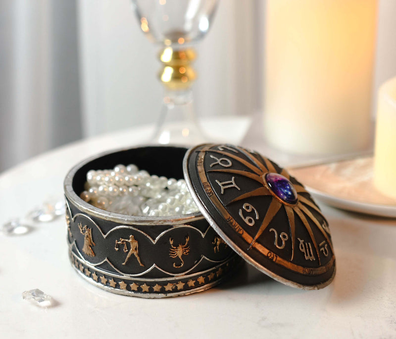 Greek Zodiac Constellations with Sun and Space Gem Lid Decorative Trinket Box