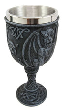 Ebros Winged Gargoyle Wine Goblet Chalice With Stainless Steel Liner 6oz Resin