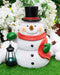 Merry Christmas Frosty The Snowman Statue With Colorful Solar LED Light Lantern