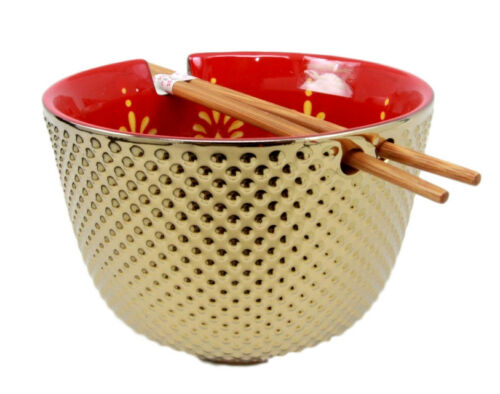 "Ebros Set of 2 Luxury Gold Plated Ramen Noodle Bowls With Chopsticks 5""Diameter Made Of Ceramic Ideal For Home or Graduation Gift (Red Lotus Blossom)"