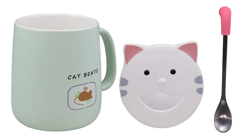 Ebros Coffee Mug Cup With Spoon And Lid 14oz Kittens Or Cats Mugs (Pastel Green)